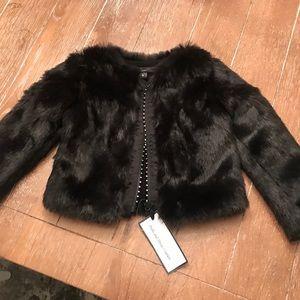 NWT black faux fur jacket